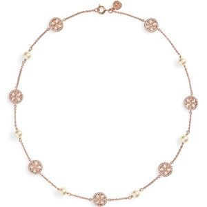 Tory Burch Crystal Necklace, Rose Gold